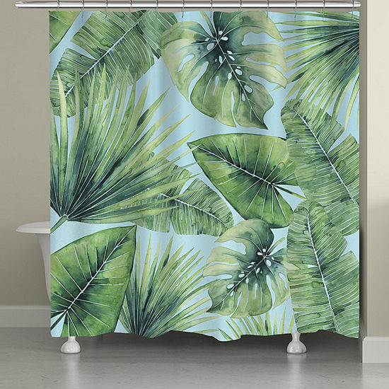 Laural Home Tropical Palm Tree Leaves Shower Curtain