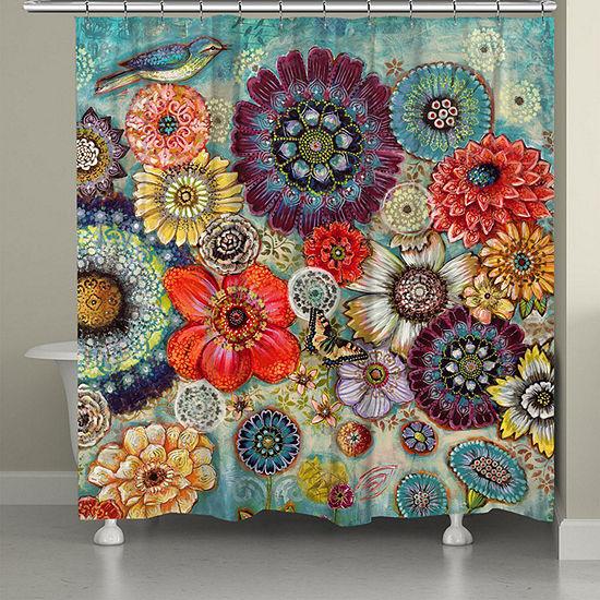 Laural Home Blue Bird Boho Shower Curtain