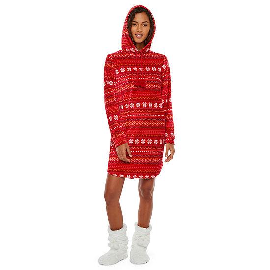 Ambrielle Womens Fleece Nightshirt Long Sleeve Hooded Neck
