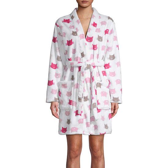 Pj Couture Plush Womens Microfleece Kimono Robes Long Sleeve Knee Length