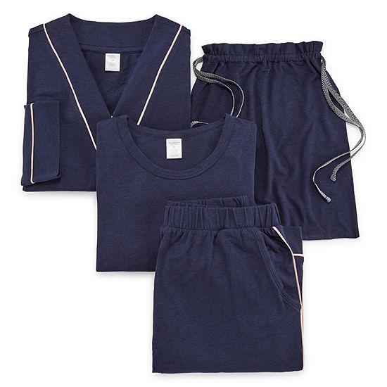 Liz Claiborne Long Sleeve Womens  4-pc Pant Pajama Set