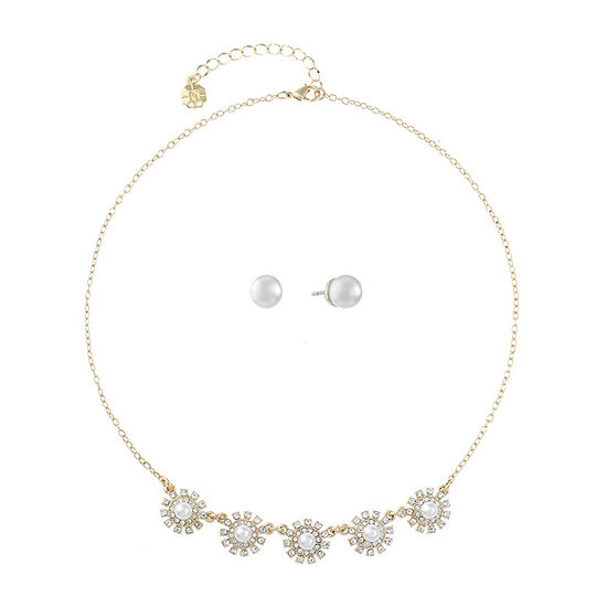 Monet Jewelry White Simulated Pearl Gold Tone 2-pc. Jewelry Set
