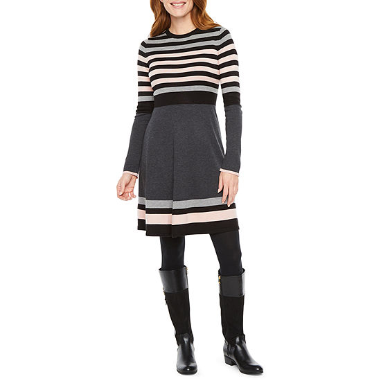 Jessica Howard Long Sleeve Sweater Dress