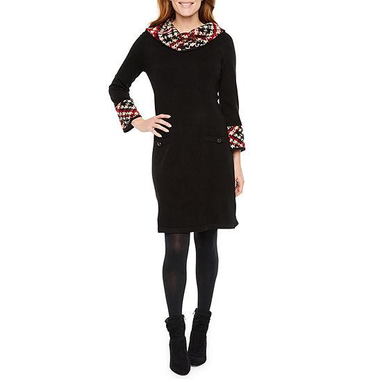 Jessica Howard 3/4 Sleeve Cowl Neck Plaid Trim Sweater Dress