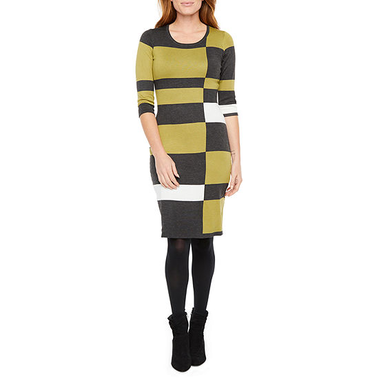 Danny & Nicole 3/4 Sleeve Squares Sweater Dress