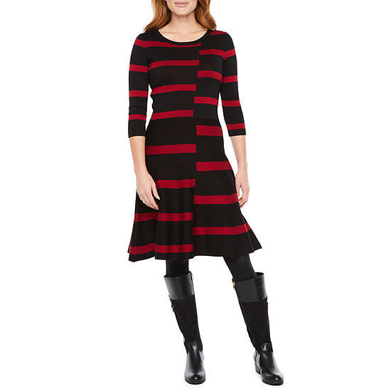 Danny & Nicole 3/4 Sleeve Splice Striped Sweater Dress