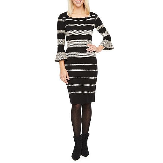 Danny & Nicole 3/4 Bell Sleeve Sweater Dress