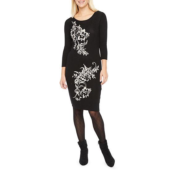 Danny & Nicole 3/4 Sleeve Floral Sweater Dress