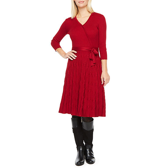 Danny & Nicole 3/4 Sleeve Belted Sweater Dress