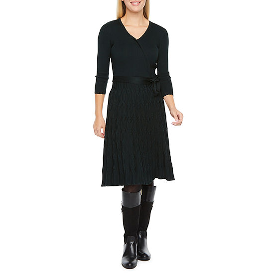 Danny & Nicole 3/4 Sleeve Belted Sweater Dress
