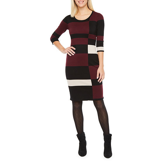 Danny & Nicole 3/4 Sleeve Colorblock Sweater Dress