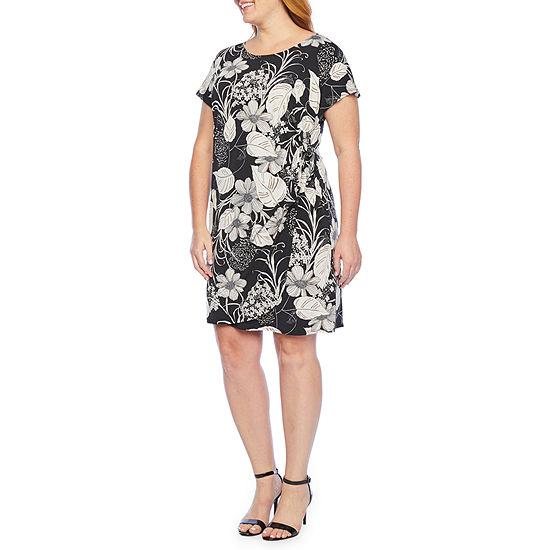 Robbie Bee Short Sleeve Floral Puff Print Sheath Dress-Plus