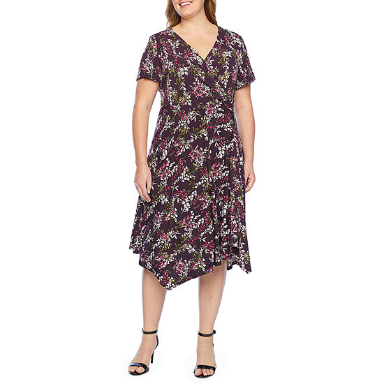 Perceptions Short Sleeve Floral Fit & Flare Dress-Plus