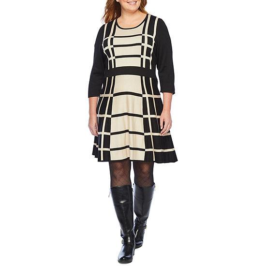 Liz Claiborne 3/4 Sleeve Sweater Dress-Plus