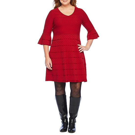 Liz Claiborne 3/4 Sleeve Sweater Dress-Plus