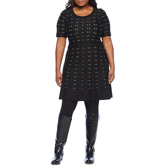 Danny & Nicole-Plus Short Sleeve Midi Sweater Dress
