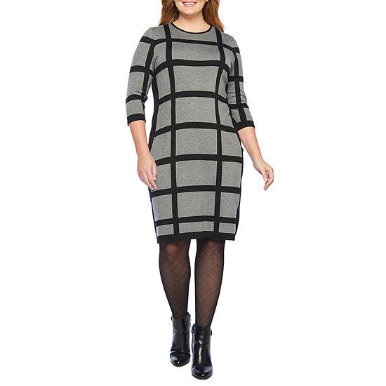 Liz Claiborne-Plus 3/4 Sleeve Sweater Dress