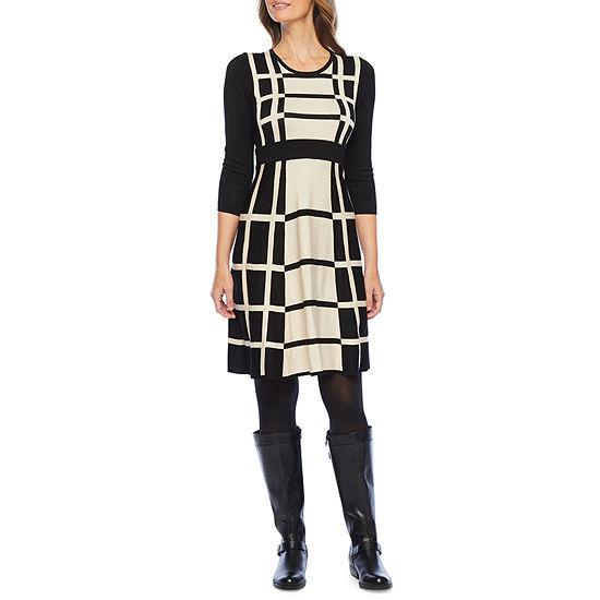 Liz Claiborne-Petite 3/4 Sleeve Sweater Dress