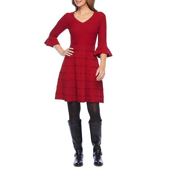 Liz Claiborne 3/4 Bell Sleeve Sweater Dress-Petite
