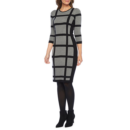 Liz Claiborne-Petite 3/4 Sleeve Midi Sweater Dress