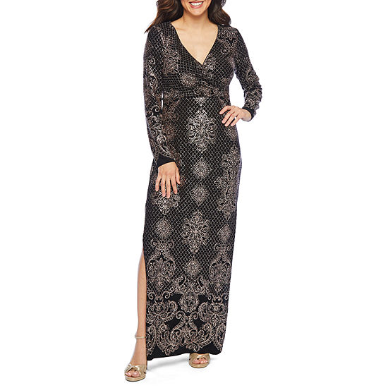 Blu Sage Long Sleeve Glitter Knit Evening Gown
