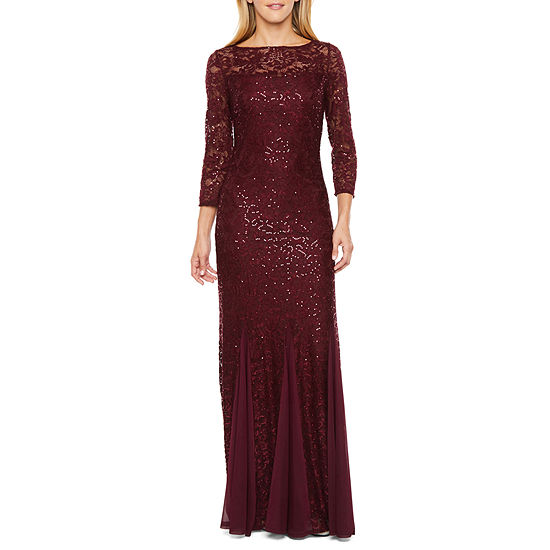 Onyx 3/4 Sleeve Sequin Lace Evening Gown
