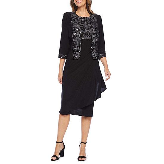Maya Brooke 3/4 Sleeve Sequin Jacket Dress