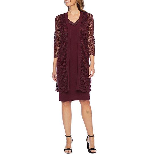 Maya Brooke 3/4 Sleeve Embellished Lace Jacket Dress