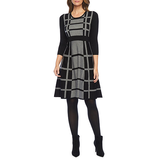 Liz Claiborne 3/4 Sleeve Midi Sweater Dress