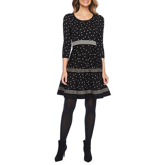 Liz Claiborne 3/4 Sleeve Stripe Dot Sweater Dress