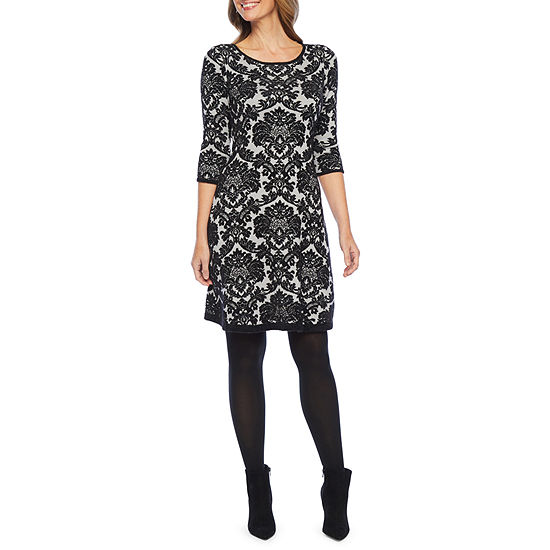 Liz Claiborne 3/4 Sleeve Damask Print Sweater Dress