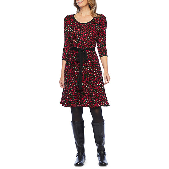 Liz Claiborne 3/4 Sleeve Belted Sweater Dress