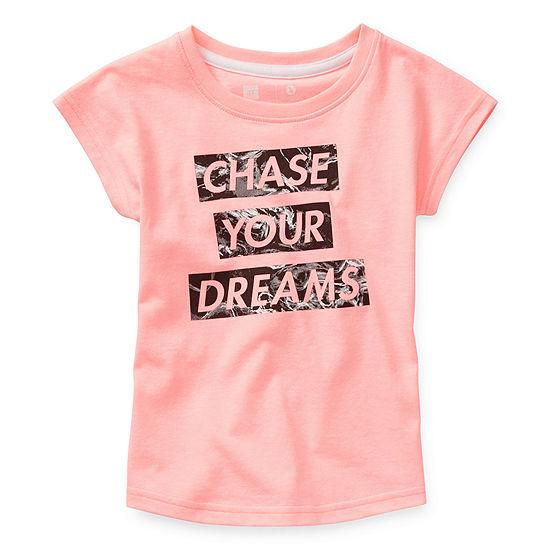Xersion-Toddler Girls Crew Neck Short Sleeve Graphic T-Shirt