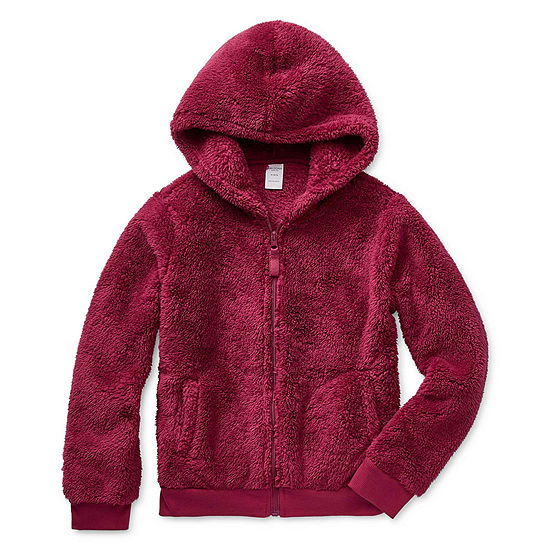 Arizona Girls Faux Shearling Hooded Lightweight Jacket Preschool / Big Kid