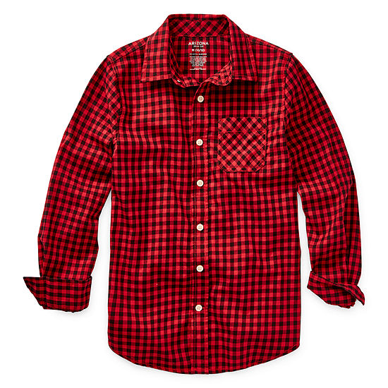 Arizona Boys Long Sleeve Button-Front Shirt Preschool / Big Kid