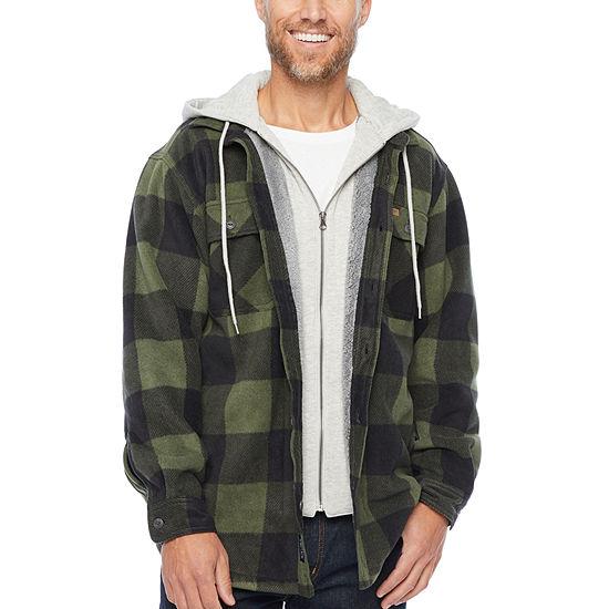 Smith Workwear Sherpa-lined Hooded Micro-Fleece Shirt Jacket