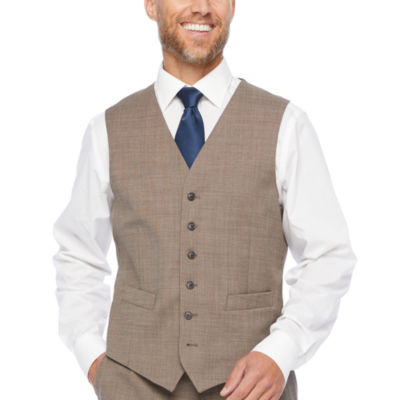 Stafford Super Tan Tic Classic Fit Stretch Suit Vest