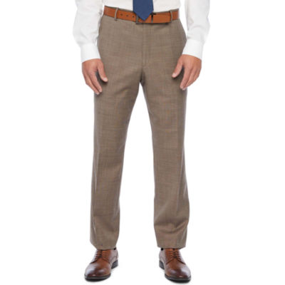 Stafford Super Tan Tic Classic Fit Flat Front Stretch Suit Pants