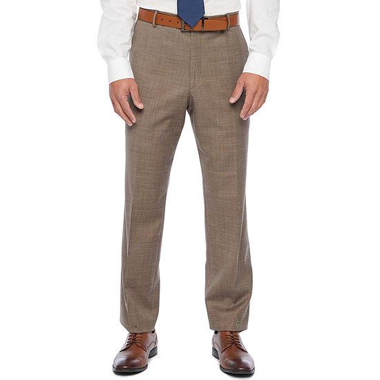 Stafford Super Tan Tic Classic Fit Flat Front Stretch Suit Pants