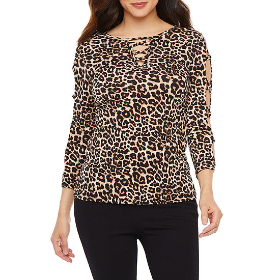 Bold Elements Womens Crew Neck Long Sleeve Blouse