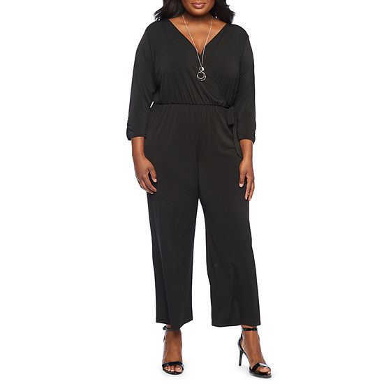 Alyx Womens Long Sleeve Jumpsuit with Necklace - Plus
