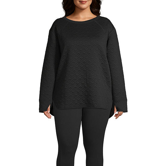 St. John's Bay Active-Plus Womens Round Neck Long Sleeve Tunic Top