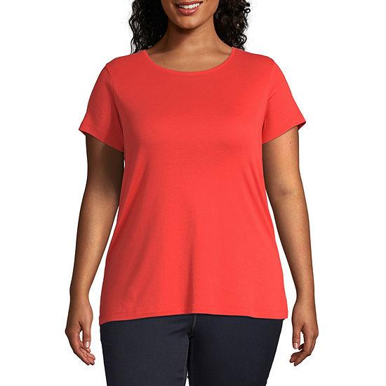St. John's Bay-Womens Crew Neck Short Sleeve T-Shirt Plus