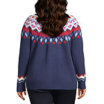 St. John's Bay Womens Round Neck Long Sleeve Pullover Sweater - Plus