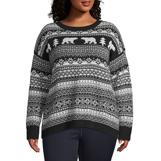 St. John's Bay Womens Crew Neck Long Sleeve Pullover Sweater - Plus