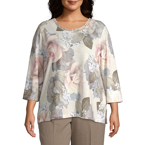 Alfred Dunner Bold Roses Top-Plus
