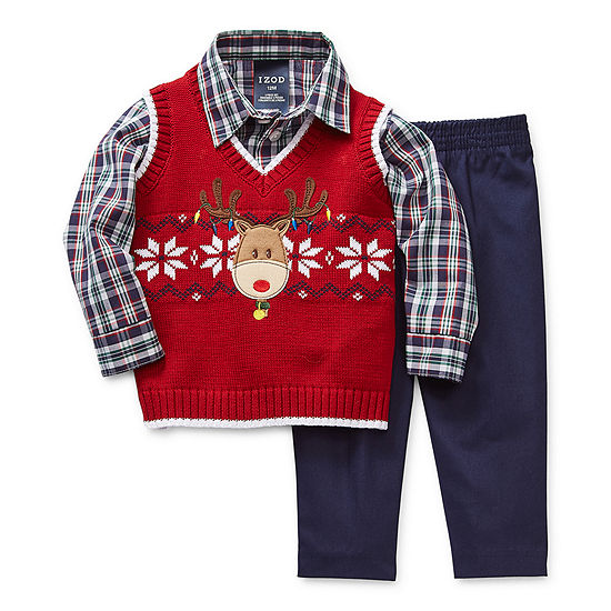 IZOD Baby Boys 3-pc. Sweater Vest Set