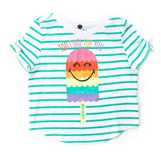 Smiley World Little Girls Crew Neck Short Sleeve Graphic T-Shirt