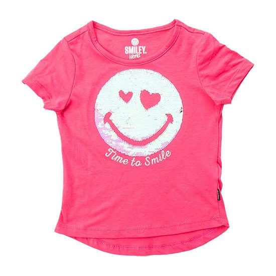 Smiley World Little Girls Crew Neck Short Sleeve Graphic T-Shirt