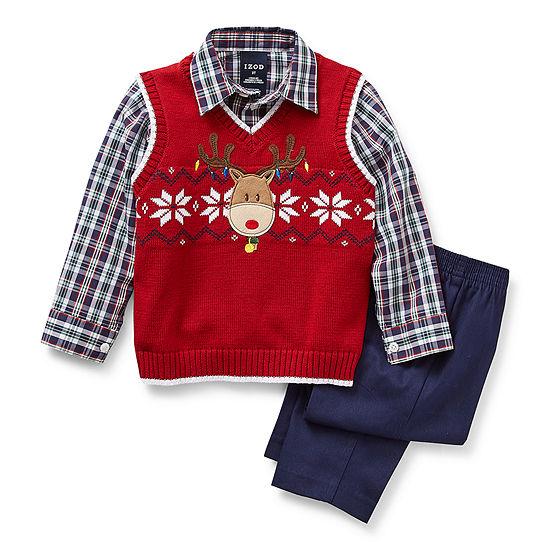 IZOD Toddler Boys 3-pc.Sweater Vest Set